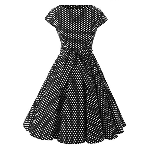 Brinny Rockabilly Kleid 1950er Retro Polka Dots Kurz Faltenrock Cocktailkleid Abiballkleid...