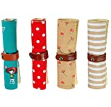 iSuperb Astuccio Tela Cartoon Pattern Portapenne 4 Pezzi Cute Pencil Case per Donna, Ragazza e Bambina (cartone animato) immagine