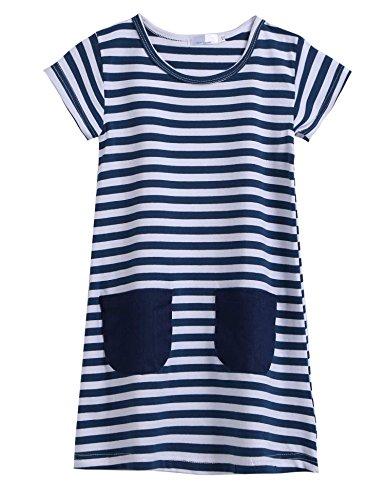 CHIGANT Mädchen T-shirt Kleid Gestreiftes Kleid Kurzarm Rundhals aus Baumwolle Gr.100-140 3-11Jahre (Shirt Blau Kleid Gestreiften)