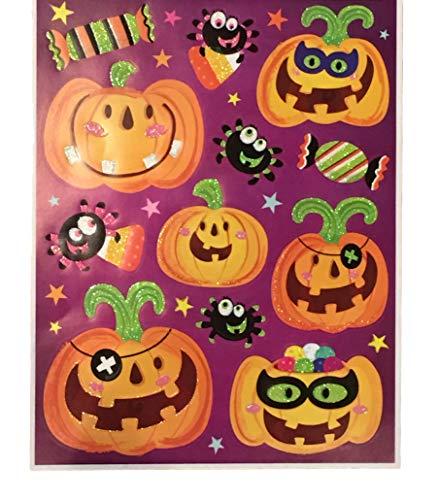 Greenbriar International Halloween-Fensterdekoration - Aufkleberbögen für Halloween-Fenster-Designs one Size Happy Jack-o-Lanterns W/Spider Friends & Candy W/Glitter Detail (12pcs) (Zeigt Halloween Fenster)