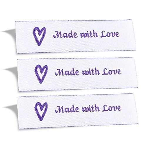 wunderlabel mit Liebe gemacht gewebt Tag Kleidung nähen Kleidung Garment Stoff Material Schleife Label 100 Labels Purple on White -