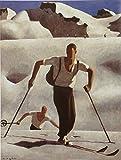 Leinwandbild Alfons Walde - Der Aufstieg - 35 x 49.5cm - Premiumqualität - Kunstdruck auf Leinwand - Turbo-Versand - Winterlandschaft, Gebirge, Wintersport, Skifahrer, Schnee, Wohnzimmer - MADE IN GERMANY - ART-GALERIE-SHOPde