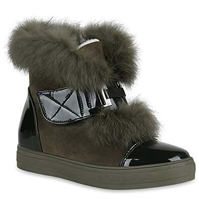 Damen Stiefeletten Plateau Boots Warm Gefütterte Schuhe Booties 148691 Dunkelgrün Brooklyn 36 Flandell