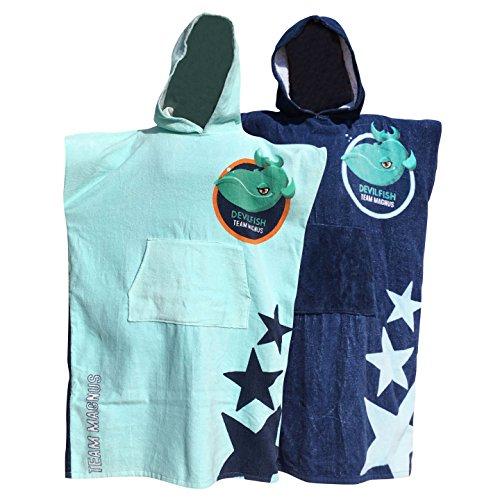 Team Magnus Toalla Playa Surf Poncho para cambiarse de Ropa - Albornoz con Capucha para natación - Unisex Changing Robe Beach Towel with Hood (Azul Claro)