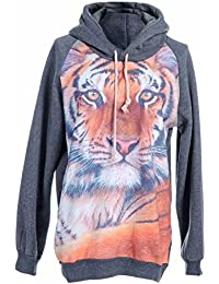 Anna-Kaci S/M Fit Grey Large Majestic Tiger Face Print Front Hooded Sweater
