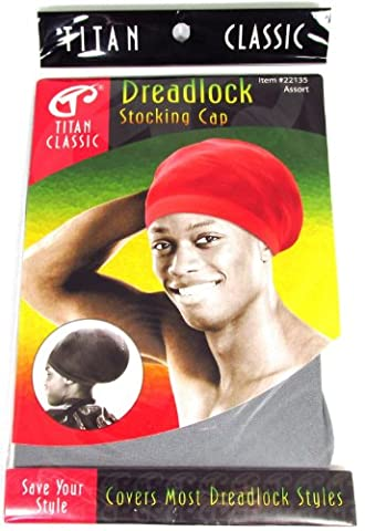 Titan Classic Dreadlock Stocking Cap Grey, Kufi cap, rasta, afro, thick and thin. Spandex, bandana, turban, bonnet, one size fits all, men and women, boys and girls, adults and kids, jumbo, long, for all hair styles and types, skull cap, beanie,... by Titan Classic