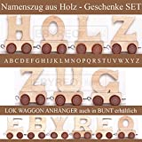 Buchstabenzug | Wunschname zusammenstellen | Holzeisenbahn | EbyReo® Namenszug aus Holz | personalisierbar | auch als Geschenk Set