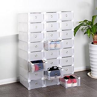AllRight 24 x Schuhkarton Schuhbox Schuhaufbewahrung Stapelbox Transparent Mit Deckel