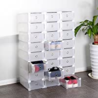JUEYAN 24 x Schuhkarton Schuhbox Schuhaufbewahrung Stapelbox Transparent mit Deckel