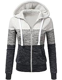 9d5e0d600e90b Newbestyle Femme Printemps Automne Hoodies Sweat-Shirt Manches Longues à Capuche  Vestes Zipper Sweatshirts