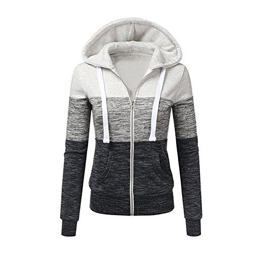 Newbestyle Jacke Damen Sweatjacke Hoodie Sweatshirt Pullover Oberteile Kapuzenpullover V Ausschnitt Patchwork Pulli mit Kordel und Zip (Weiß, 2X-Large) - Patchwork Zip