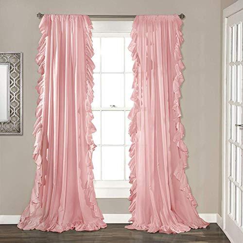 Be&xn Elegante Volant schiebegardinen,Vintage Schick Stil Vorhänge Blackout Vorhang Für mädchenzimmer Wohnzimmer, 1panel-Rosa W150xH213cm(59x84inch) (Blackout Vorhänge Rosa 84)