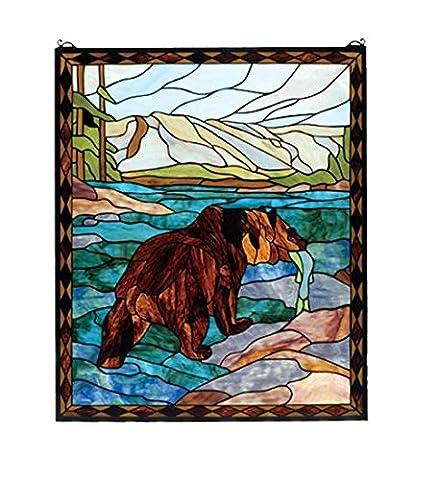 Meyda Tiffany 72934 Grizzly Bear Stained Glass Window, 25