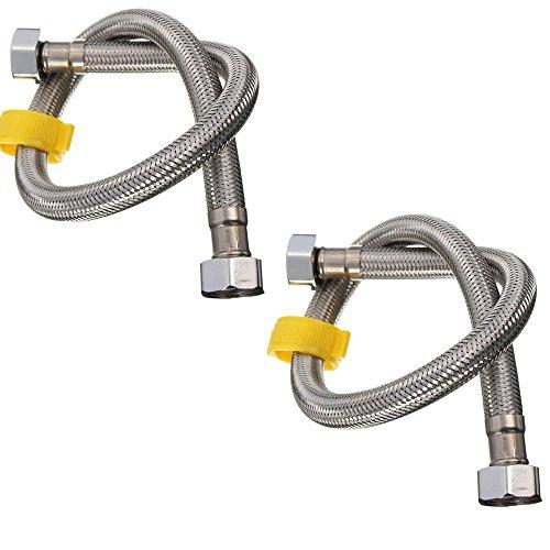 Flessibile Chrome Acqua Tubo. Per il bagno, cucina connessioni acqua. 50cm / 0.5M Confezione da 2
