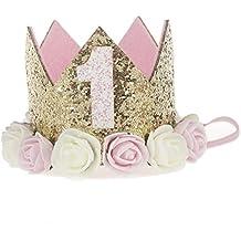 Diadema para niña, de Sunwords, con diseño de corona brillante, lentejuelas y flores