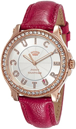 Juicy Couture Pedigree women's quartz Watch with silver Dial analogue Display and pink leather Strap 1901204