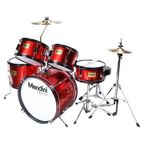 mendini-mjds-5-br-kinderschlagzeug-komplett-set-406-cm-16-zoll-metallisch-rot