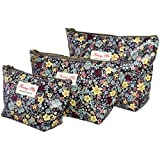 Kwang Min Coated Canvas Navy Blue Colorful Floral Printing Cosmetic Toiletry Beauty Accessories Pouch