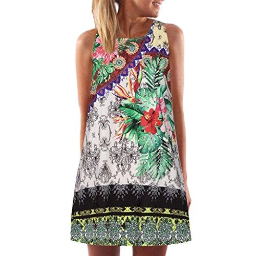 Elecenty Damen Ärmellos Sommerkleid Minikleid Strandkleid Partykleid Rundhals Rock Mädchen Blumen Drucken Kleider Frauen Mode Kleid Kurz Hemdkleid Blusekleid Kleidung (L, Grün A)