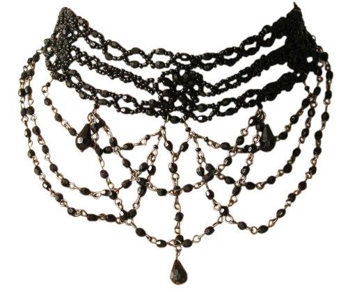 Trachtenschmuck Dirndl Perlencollier – Burlesque Kropfkette – schwarze Perlchen – Kette...