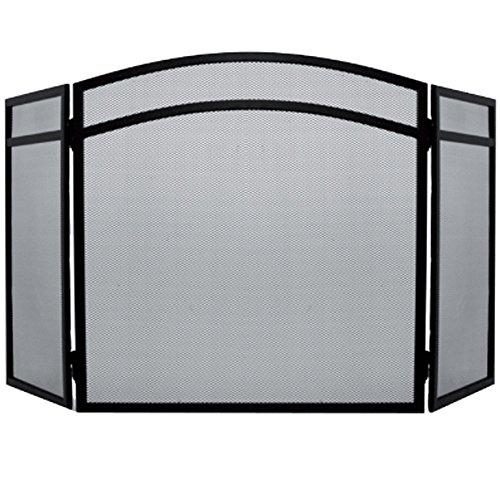 Milton Dreitafeliges Kamingitter mit Sichtfenster und geschwungenen Oberbereich sowie Funkenschutz, Schwarz von Fire Vida