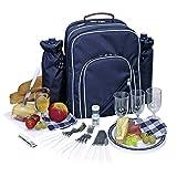 Picknickrucksack Picknicktasche mit Inhalt für 4 Personen mit integrierter Kühltasche