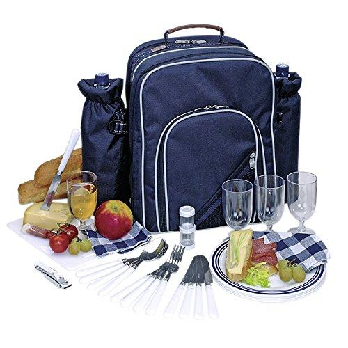 Picknickrucksack Picknicktasche mit Inhalt für 4 Personen mit integrierter Kühltasche -
