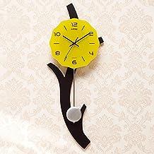 Relojes Sala De Estar Reloj Reloj Silencioso 12 Pulgadas Reloj De Arte Creativo XTXWEN Diseño Simple Dormitorio Reloj Personalizado,Yellow
