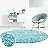 Shaggy-Teppich, Flauschiger Hochflor Wohn-Teppich, Einfarbig/Uni in Türkis für Wohnzimmer, Schlafzimmmer, Kinderzimmer, Esszimmer, Größe: 80 x 80 cm Rund