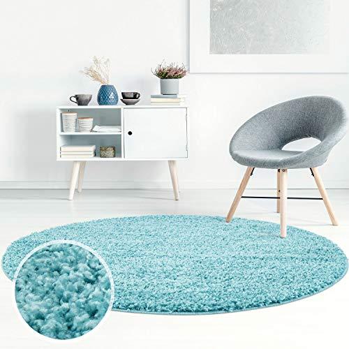 ayshaggy Shaggy Teppich Hochflor Langflor Einfarbig Uni Türkis Weich Flauschig Wohnzimmer, Größe: 200 x 200 cm Rund -