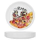 Van Well 6er Set Pizzateller groß Ø 30.5 cm mit Küchenchef-Motiv Gastro-Zubehör Pizza-Bäckerei stabiles Porzellan-Geschirr Grill-Teller Servier-Platte Antipasti
