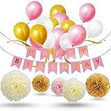 Geburtstagsdeko,Deko Geburtstag,Party Dekoration Set 30pcs Rosa Weiß Golden Mädchen Hochwertige Große Geperlte Ballons, 9pcs Seidenpapier Pompoms, 1pcs Happy Birthday Banner für Mädchen & Erwachsene