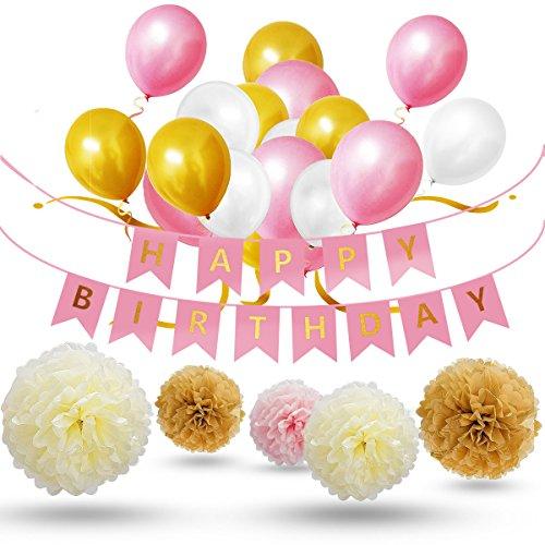 Mädche,Deko Geburtstag,Party Dekoration Set 30x Rosa Weiß Golden Hochwertige Große Geperlte Ballons, 9x Seidenpapier Pompoms, 1x Happy Birthday Banner für Junge & Erwachsene ()