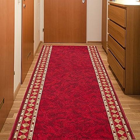 Tapis De Couloir Antidérapant - Couleur Rouge Motif Bordure - La Qualité Au Meilleur Prix - Différentes Dimensions S-XXXL 80 x 200 cm