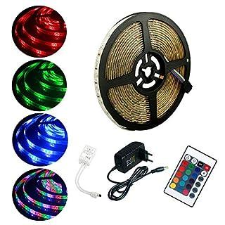 LED Streifen, ALED LIGHT 3528 RGB Mehrfarbig 5m 300 LEDs Wasserdicht LED Stripes Flexibel Leuchtend mit Infrarot-Fernbedienung 24 Tasten + Netzteil EU 12V 2A