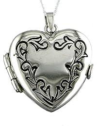 Alylosilver Collar Colgante Guardapelo de Plata para Mujer con Forma de Corazon con Cenefa - Incluye Cadena de Plata de 45 cm. y Estuche para Regalo