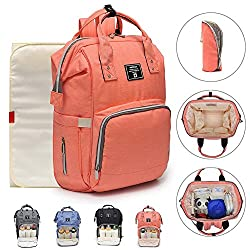 Lightweight Nappy Changing Backpack,hands-free Diaper Backpack Large Capacity With Waterproof Changing Mat Sc086p (Orange)
