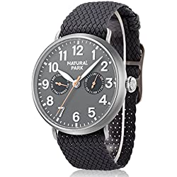 Men's Causal Day Date Wrist Watch with Deep Gray Nylon Strap