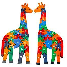 Toys of Wood Oxford Forma di Giraffa Puzzle in Legno – Blocchi Alfabeto robusti per Imparare Numeri, Colori e Forme – Puzzle Animali per Bambini