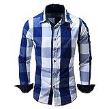 BicRad Herren Kariertes Hemd Langarm Oktoberfest Bügelfrei Freizeithemd Baumwolle Slim Fit (Blau-099, L)