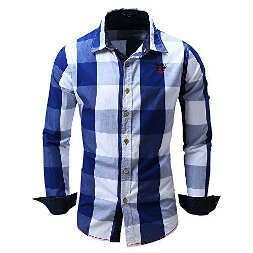 Herren Blau-kariertes Hemd (BicRad Herren Kariertes Hemd Langarm Oktoberfest Bügelfrei Freizeithemd Baumwolle Slim Fit (Blau-099, XL))