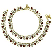 ‏‪ZIVOM Women's Bridal Antique Traditional Kundan Ruby Look Payal Anklet Pair 30Cm‬‏