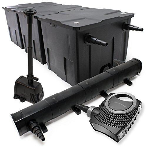 WilTec Kit de Filtration Bassin Bio 90000l Stérilisateur UVC 72W 80W Pompe éco Fontaine