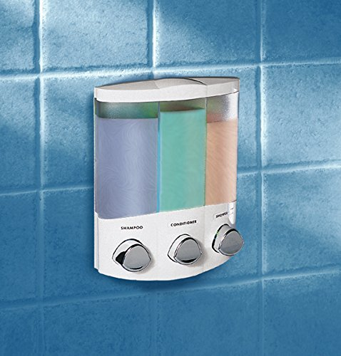 Aviva Trio Dispenser for Soap – Shampoo – Gel Dispenser – White