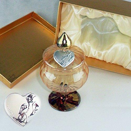 Dlm24135 portagioie in vetro soffiato con piastra matrimonio completo di scatola bomboniera