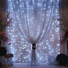 Weihnachtsdeko Fenster LED Vorhang Eiszapfen Lichterkette 300 LEDer 3x3m innen außen Beleuchtung Dekoration für Valentinstag Überraschung Geburtstag Hochzeit, Weiß
