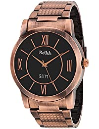 RELISH RE-C8031CC Copper Case Black Dial Analog Watch For Mens & Boys