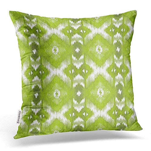 VANESSA Throw Pillow Covers Stylish Lime Olive Green White Ikat Tribal Pattern Pillowcases Polyester Square with Hidden Zipper Home Sofa Cushion Decorative Pillowcase 20x20 inch - Lime Green Dye