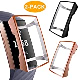 CAVN Compatible Fitbit Charge 3 Screen Protector Case [2-Pack], Chargeable Protective Case Bumper Flexible TPU Slim Full Protection Shatter-Resistant Shock-proof Screen Case Cover, Black & Rosegold