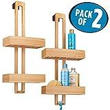 mDesign Duschablage zum Hängen - praktisches Duschregal ohne Bohren zu montieren - Duschkörbe zum Hängen aus Metall und Bambus für sämtliches Duschzubehör - bambusfarben